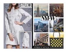 """NYFW Street Style: Day One"" by hangar-knjiga ❤ liked on Polyvore featuring NYFW, dress, bag and stylewe"