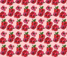 red cherry blossoms in pink fabric by aprilmariemai on Spoonflower - custom fabric