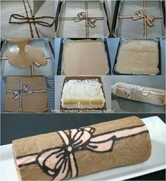 How to make this nice swiss roll type dessert! Food Cakes, Cupcake Cakes, Swiss Roll Cakes, Cake Roll Recipes, Decoration Patisserie, Cake Decorating Tutorials, Cake Tutorial, Pretty Cakes, Creative Cakes