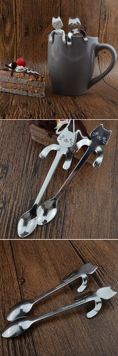 MIUK 304 Stainless Steel Coffee Spoon Creative Kitty Hook Dirt-proof Coffee Tea Spoon