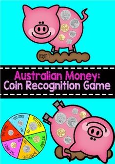 This game requires students to match coin pictures to their values shown on the spinner.   Students each get a piggy game board. They take turns in spinning the spinner (or you may use a money dice if you have one).  Students place a counter over the top of the coin that corresponds to the amount shown on the spinner. The winner is the one who covers all the coins first!