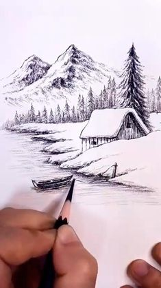 Easy Pencil Drawings, Landscape Pencil Drawings, Art Drawings Sketches Simple, Cool Drawings, Simple Landscape Drawing, Pencil Sketches Landscape, Pencil Sketching, Drawings Of Music, Pencil Sketches Simple
