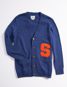 Wool Blend Cardigan with Orange Chenille Varsity Block S Letter by Hillflint Preppy Men, Preppy Style, My Style, Cute Winter Outfits, Cool Outfits, Fashion Outfits, Winter Clothes, Letterman Sweaters, Cool Shirts
