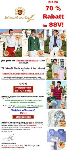 SALE! – bis zu 70% Rabatt im SSV! www.daniels-korff.de