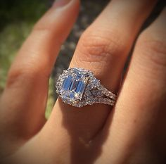 An 18k White Gold GIA 3ct Emerald Cut Diamond Engagement Ring available exclusively at Raymond Lee Jewelers.