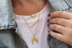 Gold Necklace Layered Necklace Long Necklace by HLcollection