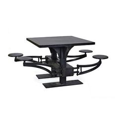 """42"""" L Lunch table cool heavy solid iron 4 swivel chairs industrial black 13581"""