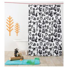 Forest Friends Shower Curtain Ebony Opaque – Pillowfort ™: Target - Home Page Bathroom Kids, Kids Bath, Bathrooms, Bathroom Modern, Downstairs Bathroom, Bathroom Layout, Small Bathroom, Black Curtains, Curtains With Rings