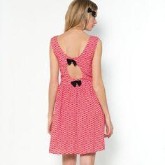 Robe imprimée, nœuds contrastants au dos, Mademoiselle R