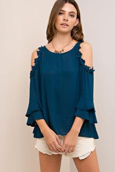 BELL SLEEVE COLD SHOULDER TOP - HUNTER GREEN $33.00 https://www.bluechicboutique.com/collections/dressy-tops/products/bell-sleeve-cold-shoulder-top-hunter-green