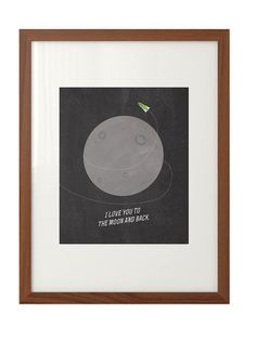 """""""I Love You to the Moon and Back"""" Nursery Art Print - Mid Century, Minimal, Retro, Hipster"""