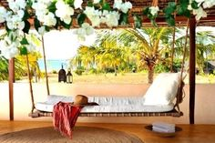tropical porch swing