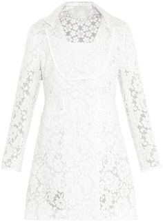Honor - White Lace and Leather-trimmed Coat White Lace, White White, White Leather, My Outfit, Cool Style, Tunic Tops, Stylish, Outfits, Clothes