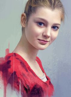 """Russian Portrait"" - Noveland Sayson {contemporary figurative realism artist beautiful blonde female head smiling woman face veronica portrait digital painting #loveart} Radiant !! www.facebook.com/noveland"