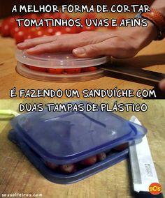 A melhor forma de cortar frutas ao meio