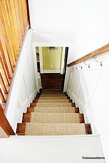 Adding an Indoor/Outdoor Runner to Stairs Outdoor Stairs, Indoor Outdoor Rugs, Stairs Trim, Stair Trim Ideas, Thistlewood Farms, Wooden Stairs, Carpet Stairs, Basement Remodeling, Stairways