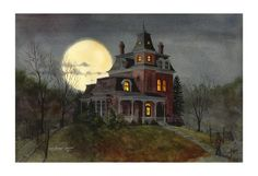 "By Lew Lehrman,  ""The Painter of Dark"" he will do a custom painting of your home, as a haunted house!"