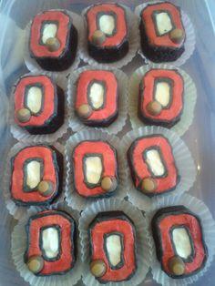 Ohio state buckeye cupcakes.