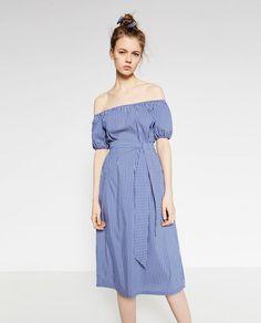 Women Off shoulder Blue And White Striped Dress Summer 2016 Women Cute  Slash Neck High Waist Bow Casual Midi Shirt Dresses