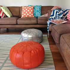 simple couch with fun pillows