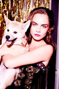 Cara Delevingne poses with her new dog for Sunday Times Style Magazine February 2016 issue