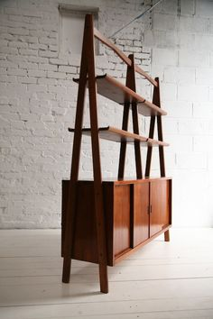 Large Teak Room Divider Bookcase1 Lots of storage for small space