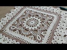 Tığişi Örgü Kare Dantel Yapımı, Renkli iplerle tek parça sehpa örtüsü & Crochet doily 3 - YouTube Crochet Placemat Patterns, Crochet Square Patterns, Crochet Stitches Patterns, Crochet Squares, Crochet Designs, Crochet Pillow Cases, Crochet Mandala, Crochet Home, Bunt