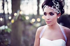 Gorgeous headpiece, shoulder jewelry, hair and makeup for A Midsummer's Night Dream styled shoot from our UK Luxe List partners | Spring 2016 wedding inspiration | Strictly Weddings | Dress @Knutsford Wedding Gallery | Photography @Teresa Adele Cunningham | Jewelry @mothership7 | Hair/makeup @Flossy & Leigh