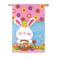 Pastel Colored Easter Bunny & Chick Outdoor Garden Flag