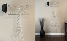 Nanton Coat Rack - Designed to look like a giant transmission tower, which is often something regarded as an eyesore, the coat rack celebrates the sculptural design that carries important information from one place to the next — connecting us all. Transmission Tower, Mini Site, Hall Stand, Stylish Coat, Lattice Design, Rack Design, Behance, Coat Hanger, Beautiful Space