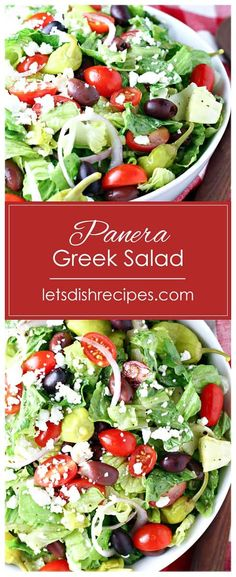 Greek Salad Lets Dish Recipes Copycat Panera Greek Salad Recipe If you love Paneras Greek salad then youre going to love this copycat version So delicious and so easy t. Shrimp Salad Recipes, Greek Salad Recipes, Spinach Salad Recipes, Healthy Salad Recipes, Delicious Recipes, Panera Salad, Tuna Salad Pasta, Macaroni Salad, Salads