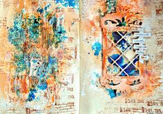 A new ArtJournal page from me. More in my blog: http://vibekescrapperogskryter.blogspot.no/2013/05/adventure_12.html