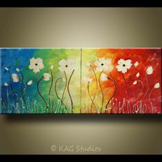 Abstract Flower Art by Kag 20 x 48 inches by kagstudios on Etsy, $249.00