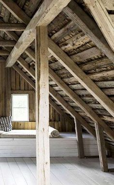 loft, beamed room, timber structure. interior.raw. exposed beams. Bc.
