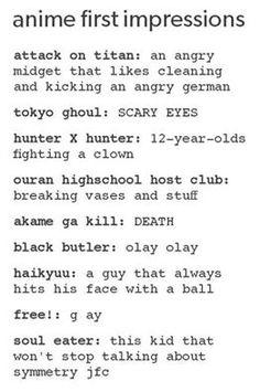 Black Butler XD Attack On Titan XD Tokyo Ghoul XD Ouran Highschool Host Club XD Free! XD Soul Eater XD