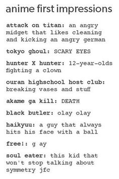 Black Butler XD Attack On Titan XD Tokyo Ghoul XD Ouran Highschool Host Club XD Free! XD Soul Eater XD