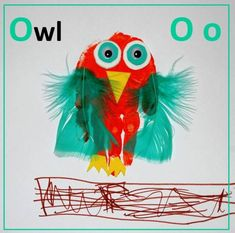 We are back with our Handprint Alphabet. And already we are at O! My the time is flying by!!! What else could we make but an OWL! A simple one – using a full handprint, googly eyes, feathers and funky foam for embellishments. Red Ted decided to add a little nest! While Pip Squeak is …