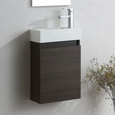 Wall hung bathroom basin sink cabinet vanity unit with a professional dark oak finish. Oak Vanity Unit, Cloakroom Vanity Unit, Bathroom Storage Units, Storage Spaces, Basin Sink Bathroom, Vanity Basin, Classic Bathroom Furniture, Contemporary Vanity, Wall Hung Vanity