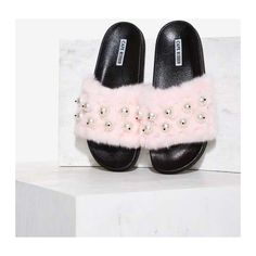 Ball's in Your Court Faux Fur Slide Sandal ($38) ❤ liked on Polyvore featuring shoes, sandals, pink, slide sandals, pink sandals, ball shoes, beaded sandals and beaded shoes