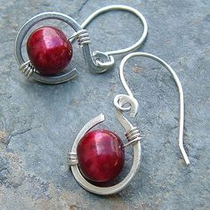 Pearl Earrings Small Silver Coils Red Berry Pearls  by ArtistiKat