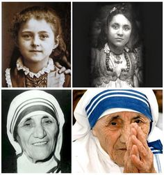 Mother Theresa - Throughout her life. On a side note: As someone pointed out, the first photo is actually St Therese . So, it looks like we have TWO amazing women in this photo :) I love them both ! Sainte Therese, St Therese, Juan Pablo Ll, Saint Teresa Of Calcutta, Mother Teresa Quotes, Mother Teresa Biography, Women Rights, Important People, Blessed Mother