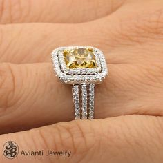 Canary Diamond Engagement Ring, Engagement Ring, Split Shank Ring | LDR01902