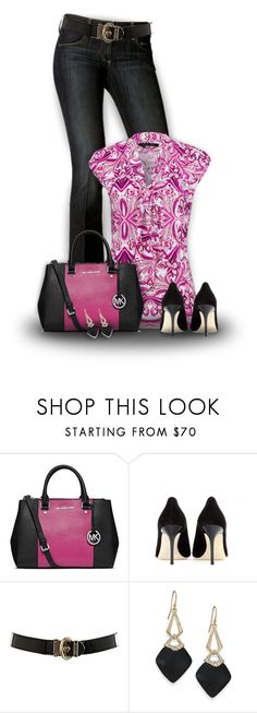 """""""Arabesque"""" by mwaldhaus ❤ liked on Polyvore featuring Paige Denim, Etcetera, Michael Kors, Jimmy Choo, Karen Millen and Alexis Bittar"""