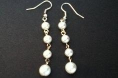 Silver pearl earrings - DIY