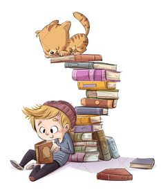 Boy reading a book with cat on top of many books - Dibustock, Ilustraciones infantiles de Stock Boy Cartoon Drawing, Reading Cartoon, Cartoon Books, Cartoon Kids, Cute Cartoon, Cartoon Art, Art Drawings For Kids, Drawing For Kids, Kids Reading