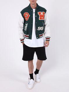 Varsity Letterman Jackets, Leather Varsity Jackets, Casual Styles, Men Casual, Jacket Drawing, Green Jacket, Dapper, Streetwear, Swag