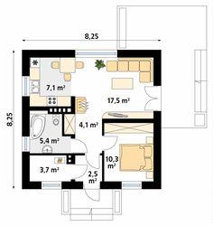 Imbir mały i wygodny dom parterowy - Jesteśmy AUTOREM - DOMY w Stylu Modern Floor Plans, Facade House, Design Case, Planer, House Plans, House Design, Flooring, How To Plan, Interior Design