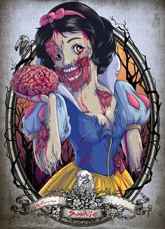 Snow White Zombie. Deeply upset someone would distort a beautiful Disney princess BUT they did a good job getting the point across and it looks realistic of how they went about making her a zombie.