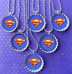 Superman Super Hero party bottle cap necklace Party Favor pack / contact me for other quantities needed Superman Party, Superman Birthday, Superhero Birthday Party, 4th Birthday Parties, Bottle Cap Necklace, Bottle Cap Crafts, Pirate Theme, Party Time, Party Favors