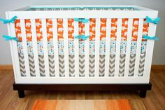 Baby Bedding Nursery Crib Set Orange Elephants Gray by modifiedtot,